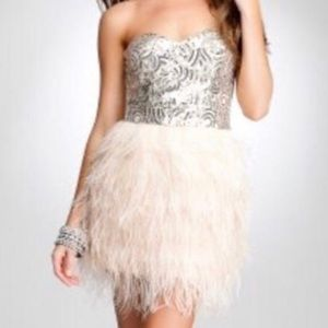 Bebe sequin and ostrich feather dress